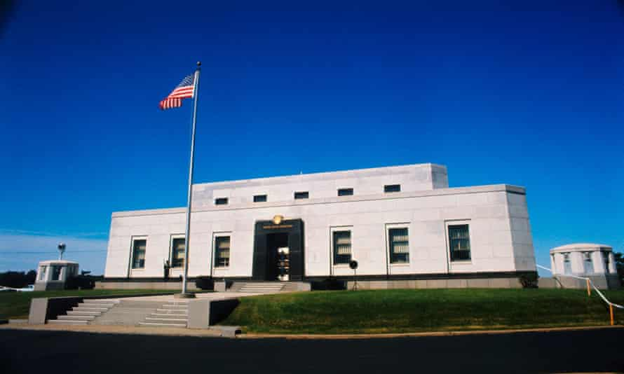 The outside of of the United States Bullion Depository at Ft. Knox, Kentucky.