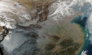 Satellite view of northern China covered by pollution haze on 23 January 2014