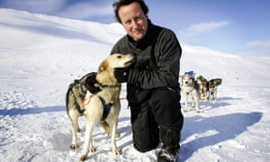 Cameron's previous attempt to rebrand his party by hugging a husky dog in the Arctic