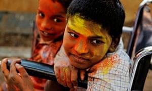 Disabled children celebrate Holi in India
