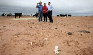 Tony Abbott meets with outback graziers Phillip and Di Ridge in western New South Wales.