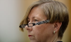 Secretary of the Department of Health Jane Halton reacts during Senate Estimates at Parliament House in Canberra, Wednesday, Feb. 26, 2014.