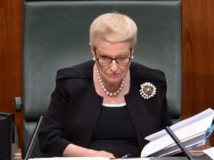 Speaker of the House Bronwyn Bishop reacts during question time in the House of Representatives at Parliament House in Canberra, Wednesday, Feb. 26, 2014.