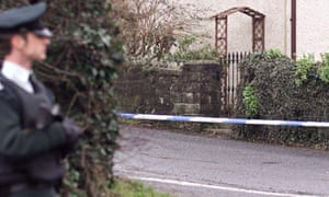 Police at the scene of Eamon Collins' murder