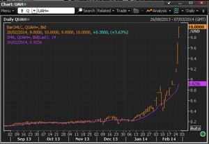 Hrynvia vs US dollar, February 26 2014