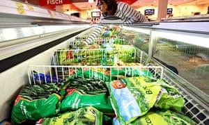 Frozen vegetables in a supermarket