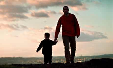 Father and son walking