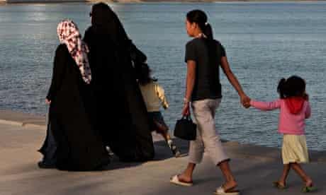 Qatari women with maid