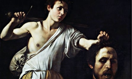 detail of David with the Head of Goliath by Caravaggio.