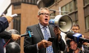 Chris Warren speaks at rally for Peter Greste in Martin Place, Sydney