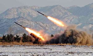 Missile-firing drill at an undisclosed location in North Korea.