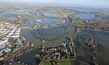 Aerial view of flood waters in Chertsey, Surrey