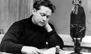 Dylan Thomas in a BBC recording studio.