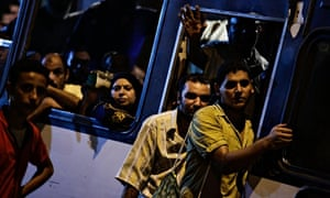 Bus commuters stuck in traffic in Cairo, Egypt