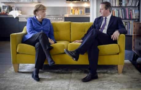 Angela Merkel and David Cameron chat at the start of their meeting in Downing Street.