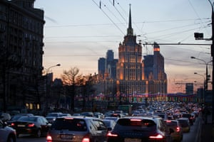 The Ukraina Hotel is silhouetted against the evening sky in Moscow, Thursday, Feb. 27, 2014.