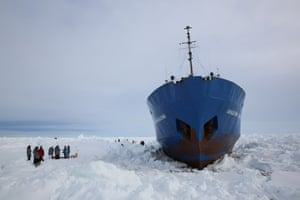 The Shokalskiy icebound in Antarctica. Photograph: Laurence Topham