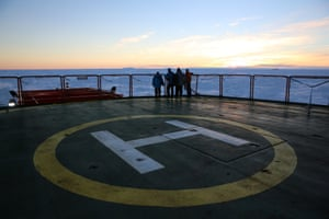Sunset on the helipad of the Aurora Australis