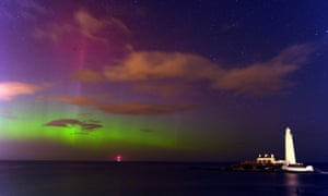 The northern lights at St. Mary's Lighthouse and Visitor Centre, Whitley Bay, North Tyneside.