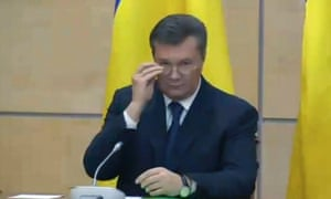 Ukraine's fugitive president Viktor Yanukovych gives a media conference in Rostov-on-Don, a city in southern Russia about 1,000 kilometers (600 miles) from Moscow.