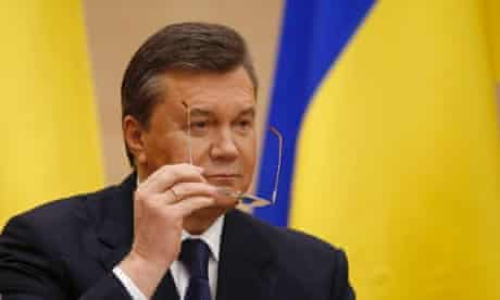Ukraine's fugitive president Viktor Yanukovych gives a news conference in Rostov-on-Don, a city in southern Russia about 1,000 kilometers (600 miles) from Moscow.