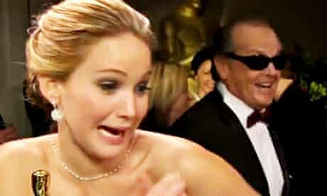 Oscars: Jennifer Lawrence meets Jack Nicholson