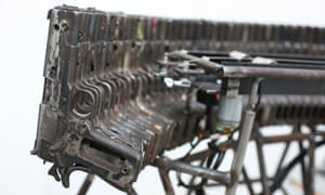 A musical instrument made from recycled gun parts is shown at Pedro Reyes' Disarm exhibition at the Lisson Gallery in London, UK