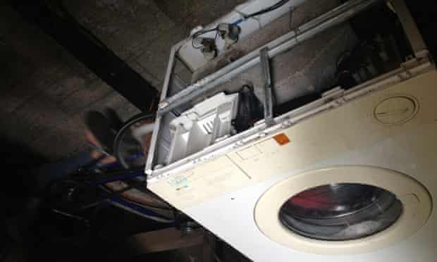 A person-powered washing machine, Faslane Peace camp.