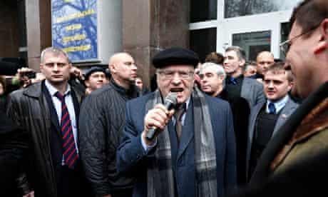 Russian nationalist politician Vladimir Zhirinovsky addresses a crowd in Sevastopo