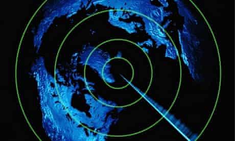 Radar screen and world map