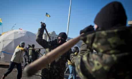Members of the radical group Pravy Sektor (Right Sector) practice street fighting in Kiev, Ukraine.
