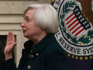 Janet Yellen is sworn as Federal Reserve chair at the Federal Reserve Building. Photo: Mark Wilson/Getty Images