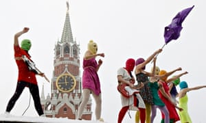A Russian revolution: Pussy Riot perform in Red Square in Jaunary 2012.