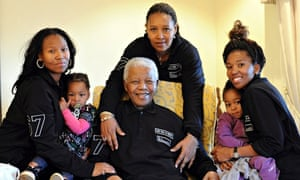 Nelson Mandela celebrating his 93rd birthday with daughter, granddaughters and great-granddaughters