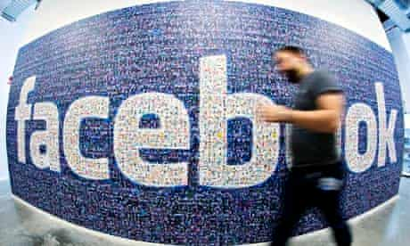 Facebook logo created with pictures of its users