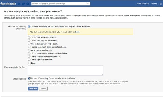 How to delete your facebook account technology the guardian ccuart Image collections