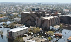 Memorial hospital in New Orleans flooded after hurricane Katrina