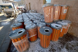 Litter bins are pliled high waiting to be distributed around Sochi