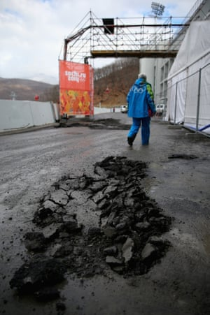 A hole in the newly laid tarmac at the RusSki Gorki Ski Jumping venue