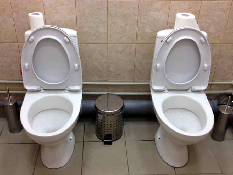 Double toilet cubicle outside Sochi Winter Olympics press centre