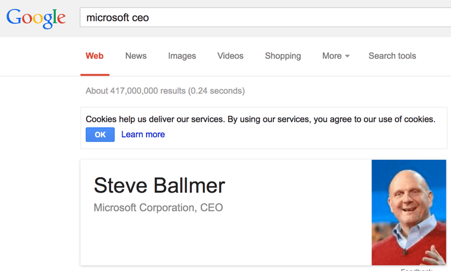 Google search for Microsoft CEO