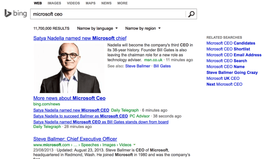 Bing search results for Microsoft CEO