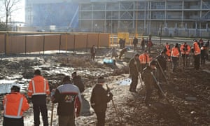Workers near the Sochi Olympic park's media centre