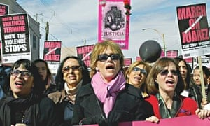 Eve Ensler, Jane Fonda and Sally Field on the frontline of a protest in Juarez, Mexico, 2004
