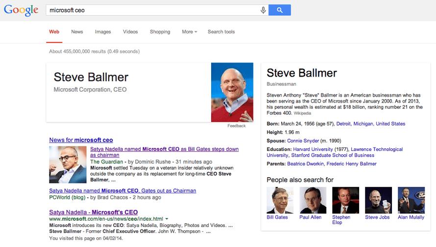 Google search results for Microsoft CEO