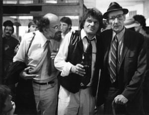 William Burroughs: Beat authors Allen Ginsberg (1926 - 1997), Gregory Corso (1930 - 2001), and