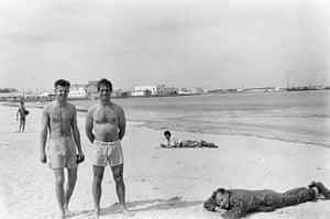 William Burroughs: Peter Orlovsky, Jack Kerouac and William Burroughs Relaxing on Beach