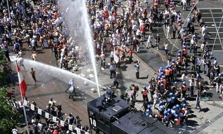 Water cannon was used on England fans during the Euro 2000 football tournament in Belgium