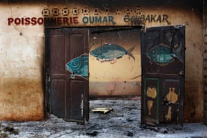 A Muslim owned fish shop stands looted in the Miskin district of Bangui, Central African Republic.