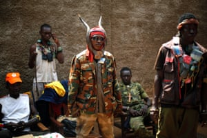 Anti-Balaka Christian militiamen stand in the Combatant district of Bangui, Central African Republic.